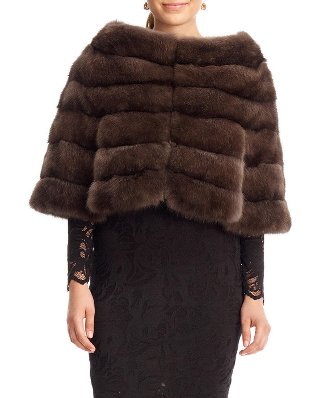 Gorski Horizontal Sable Fur Cape in Brown | Lyst for Sable Fur Cape  183qdu