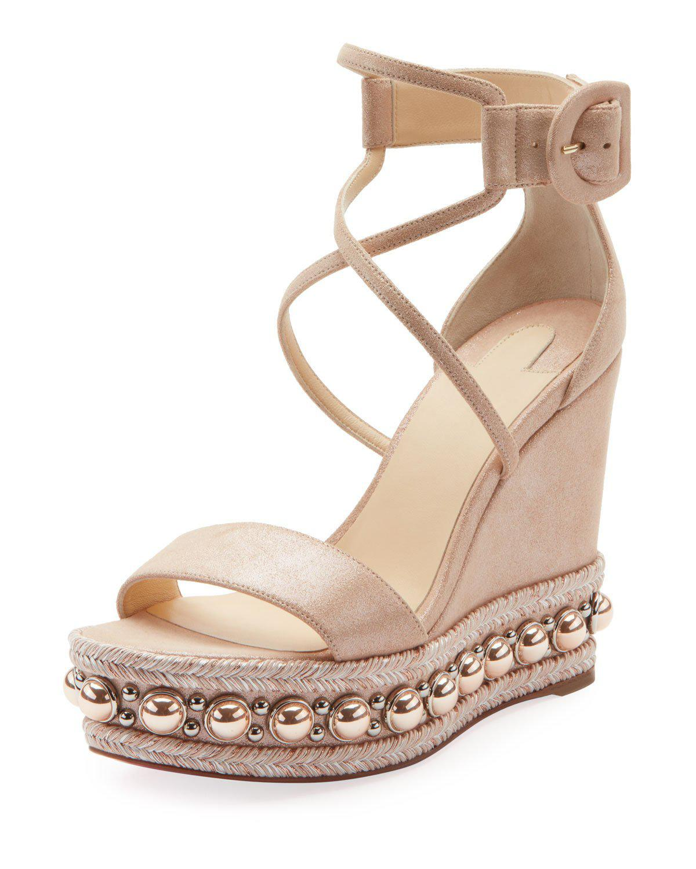9cc5a79832c0 Christian Louboutin. Women s Chocazeppa Metallic Suede Wedge Red Sole  Espadrille Sandals