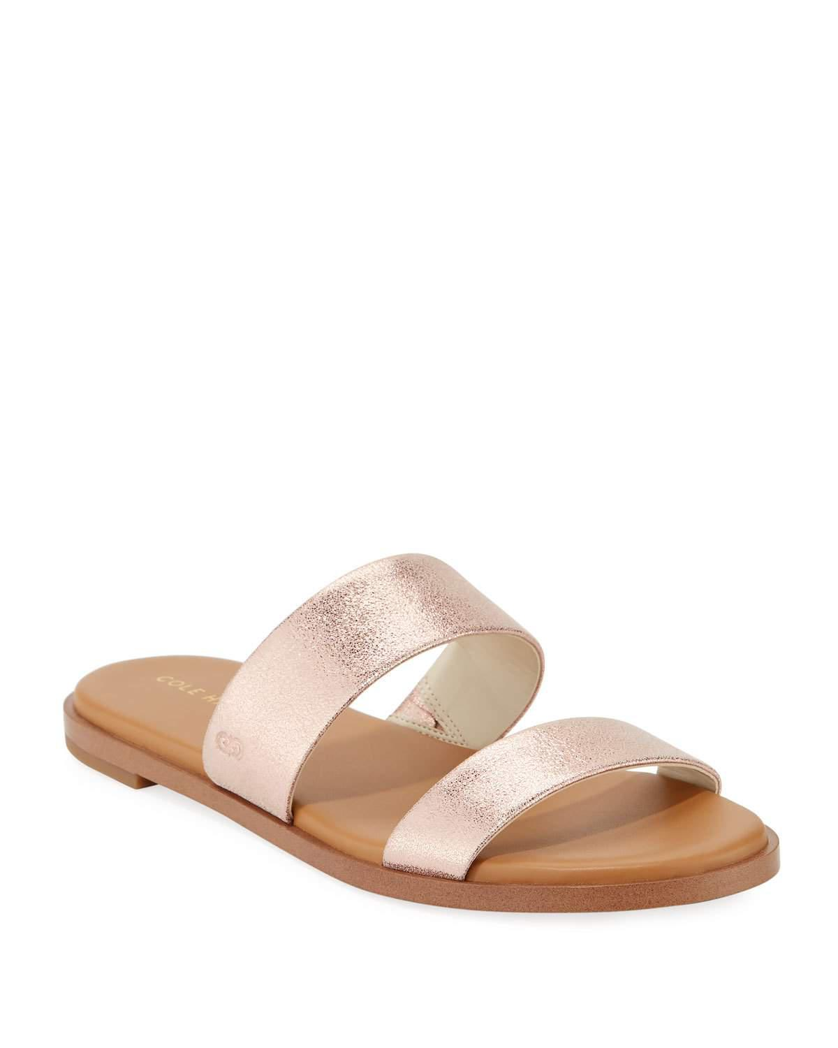 Cole Haan Findra Grand Flat Metallic Leather Slide Sandal 8OiOqvrd