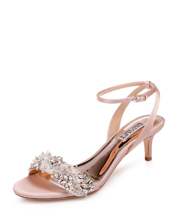 168366f3de3 Lyst - Badgley Mischka Fiona Embellished Satin Kitten-heel Sandals ...