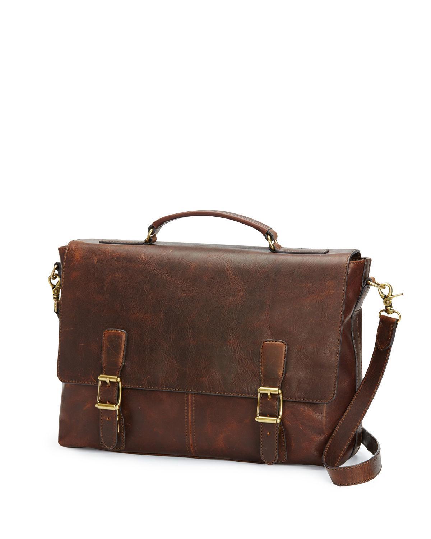 Frye. Men's Brown Logan Antique Leather Flap Briefcase
