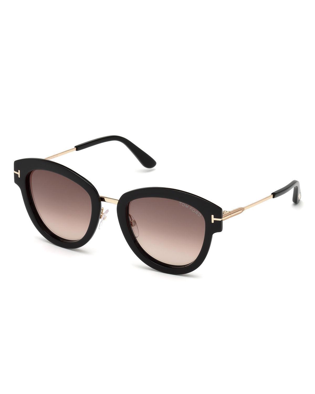 76b6ae3c83 Lyst - Tom Ford Oval Mirrored Acetate metal Sunglasses in Black