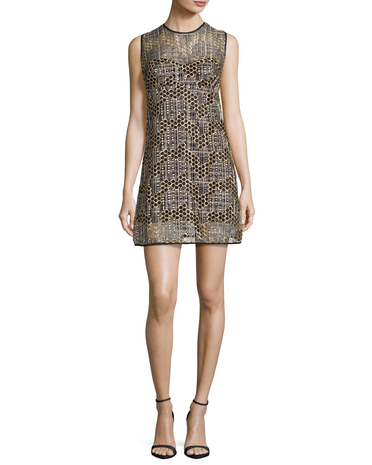 Pleated shift dress with jeweled neck   RW&CO.