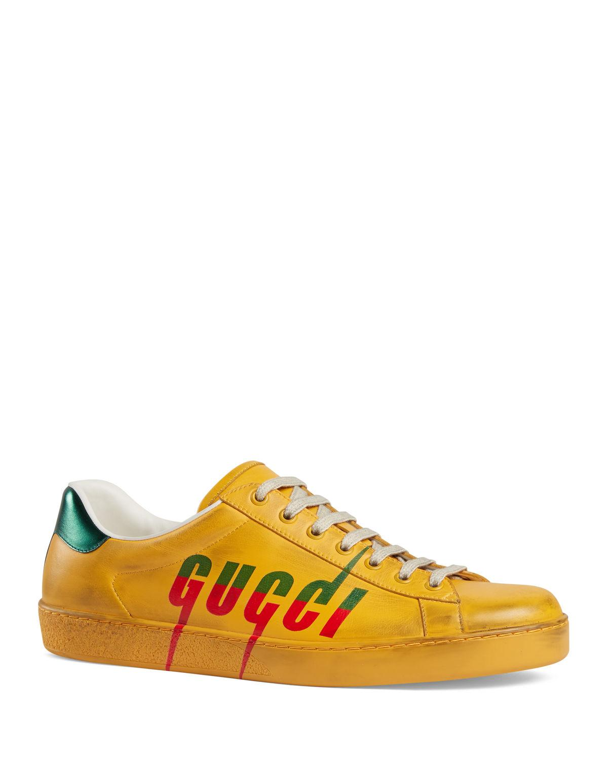 new york popular brand good service Men's New Ace New Logo Leather Sneakers - Yellow