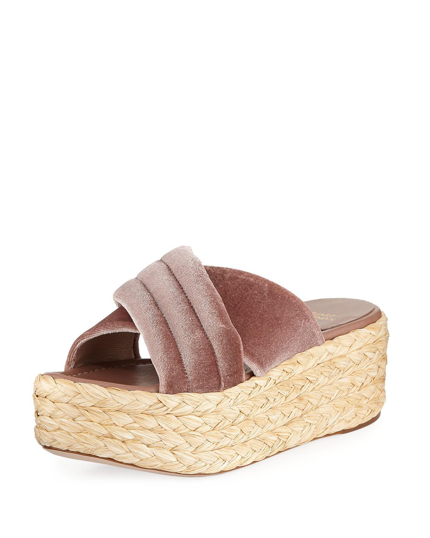 Stuart Weitzman Pufftopraffia Velvet Wedge Platform Sandal iN9eYKqmgr