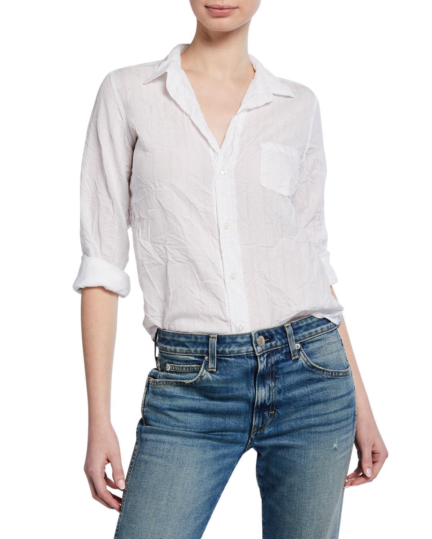8533e3f1 Frank & Eileen. Women's White Barry Button-down Long-sleeve Cotton Poplin  Shirt