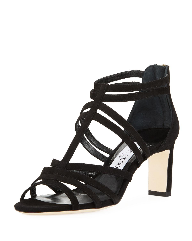 9f991da8a3b8 Lyst - Jimmy Choo Selina Suede Strappy 65mm Sandals in Black