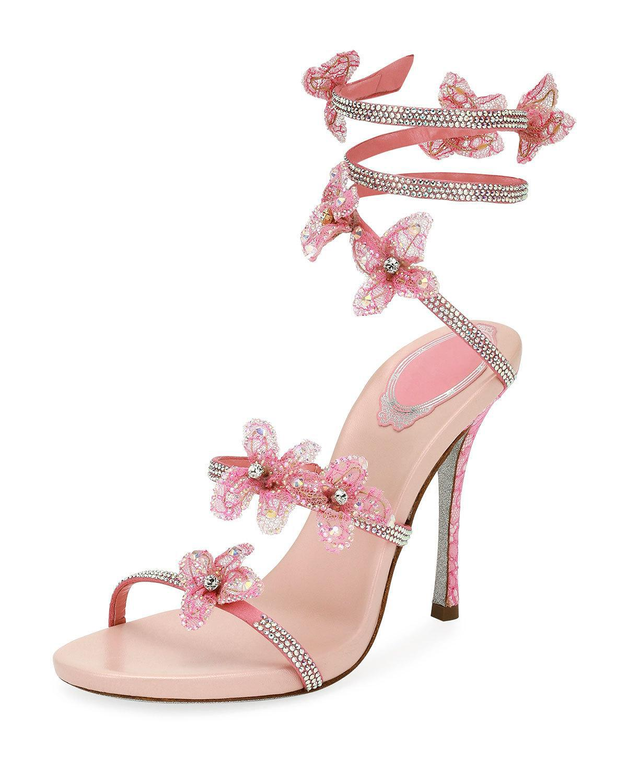 Lyst Rene Caovilla Flower Embellished Snake Coil Sandal In Pink