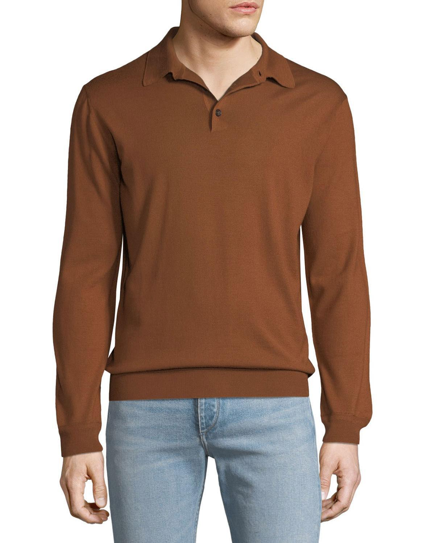 d798028987 Lyst - Ermenegildo Zegna Men's Long-sleeve Polo Shirt in Natural for Men