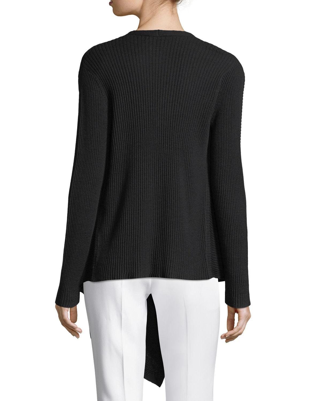 Eileen fisher Washable Wool Wrap Cardigan in Black | Lyst
