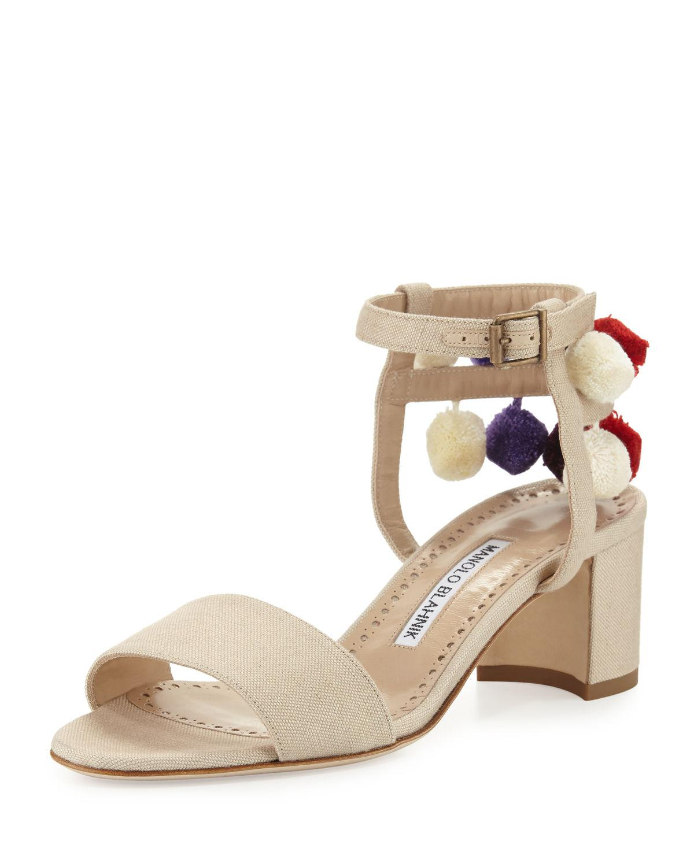 c7857e242d9 Lyst - Manolo Blahnik Pompom Linen Block-heel Sandal
