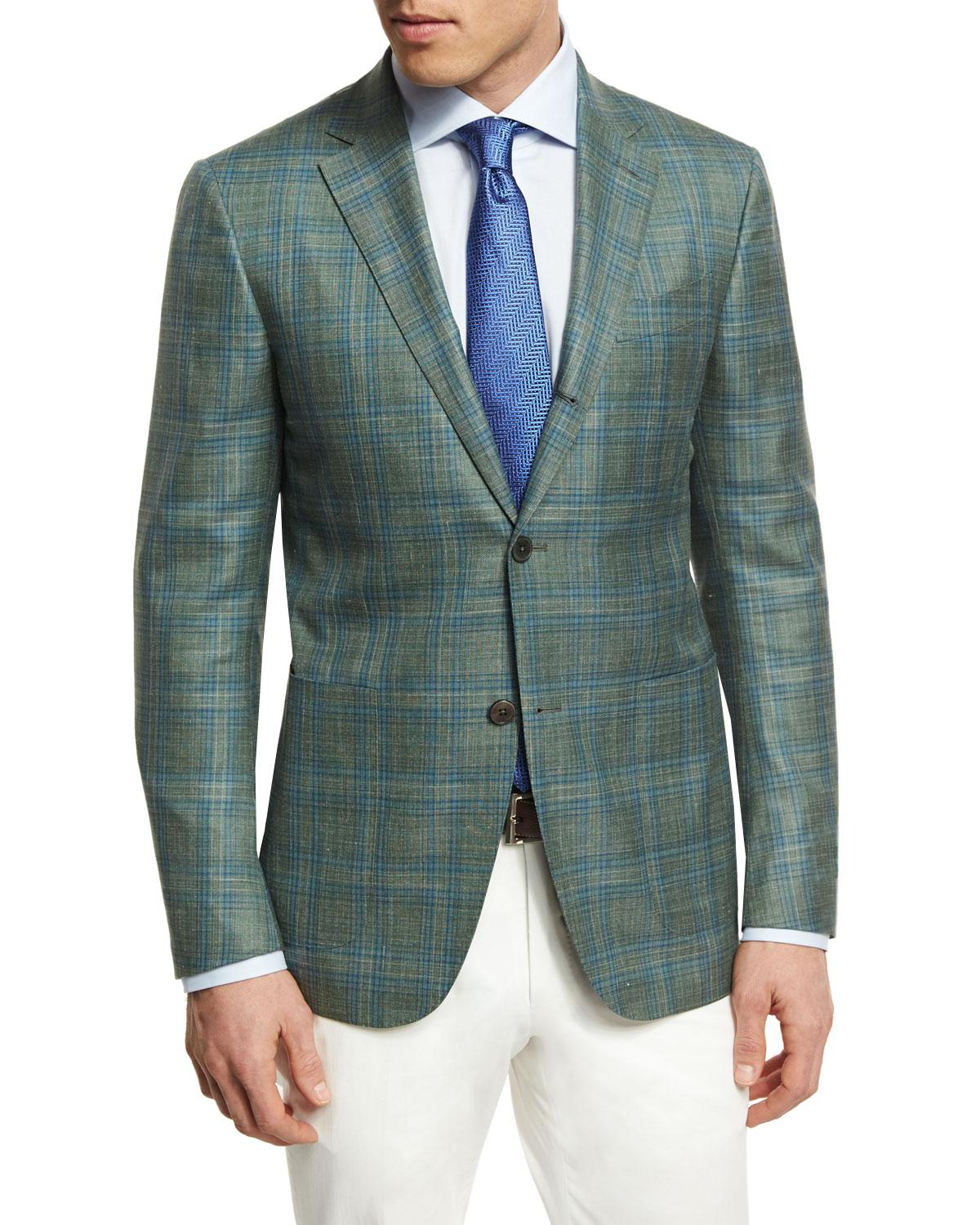 Lyst Ermenegildo Zegna Plaid Three Button Sport Coat In