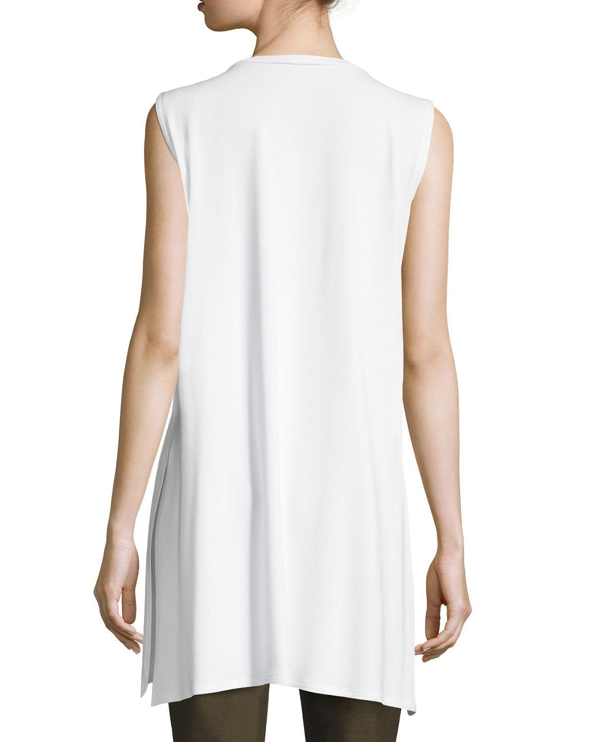 a5dcb90797b29 Lyst - Eileen Fisher Sleeveless Long Lightweight Jersey Tunic in White