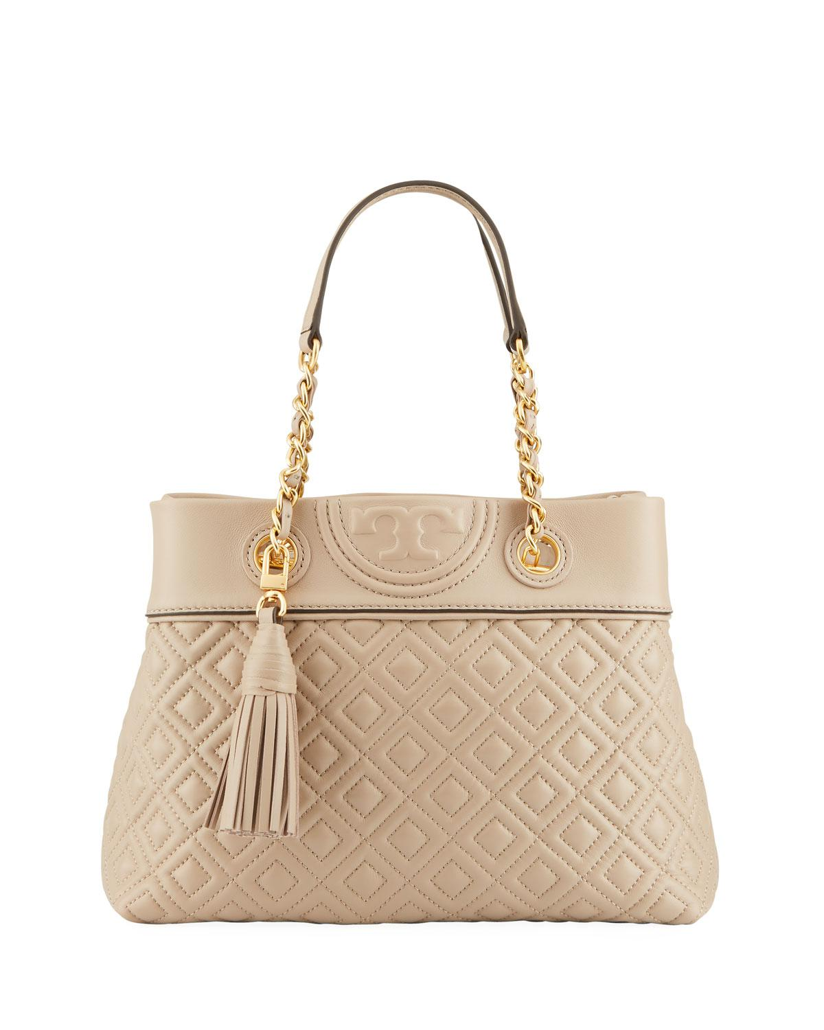 f5d5190c4516 Lyst - Tory Burch Fleming Small Quilted Leather Tote Bag in Natural