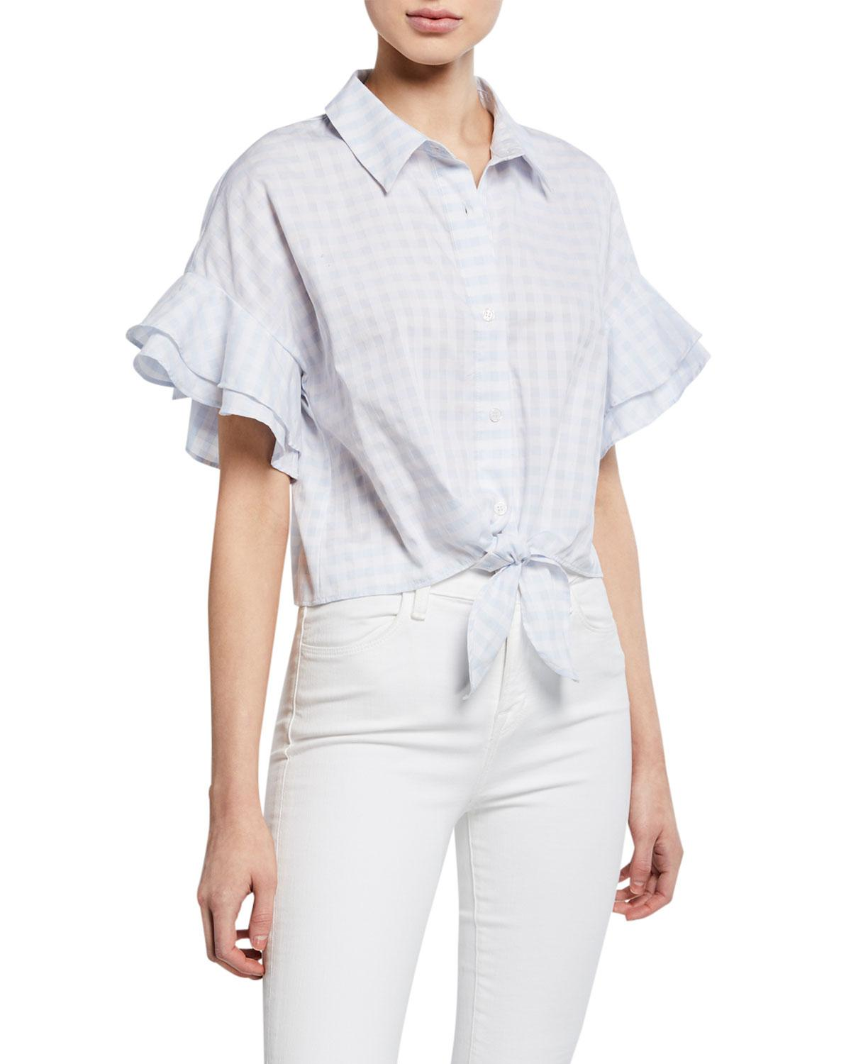 eca7fc62 Cupcakes And Cashmere. Women's Blue Sunnie Flutter-sleeve Gingham Blouse