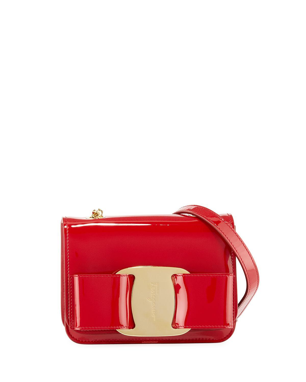 6679b9aa2c28 Lyst - Ferragamo Vara Rainbow Patent Shoulder Bag in Red