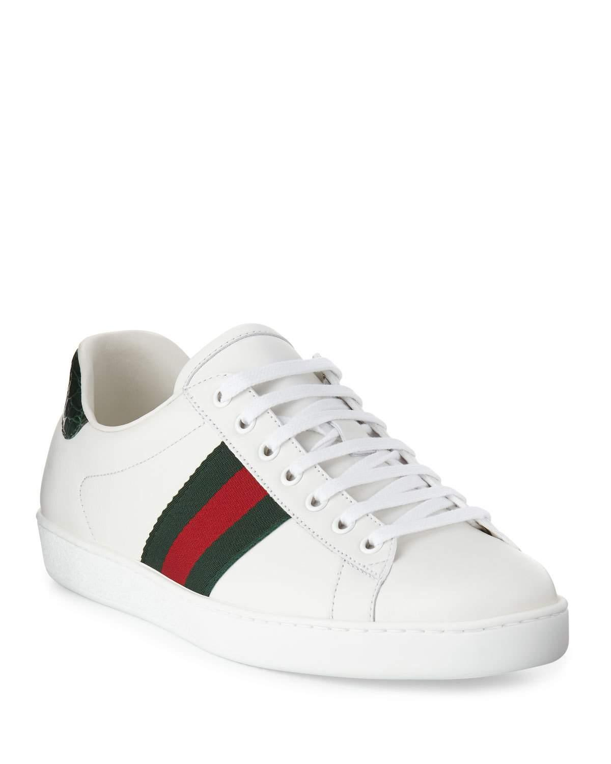 f529c57e6df Gucci Men s New Ace Leather Low-top Sneakers in White for Men - Save ...