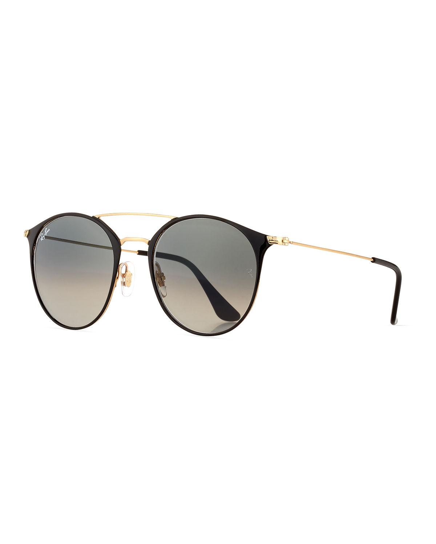 79483bcc438 Lyst - Ray-Ban Gradient Round Double-bridge Sunglasses in Metallic