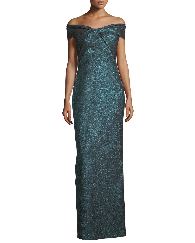 Lyst - Teri Jon Off-the-shoulder Metallic Stretch Evening Gown