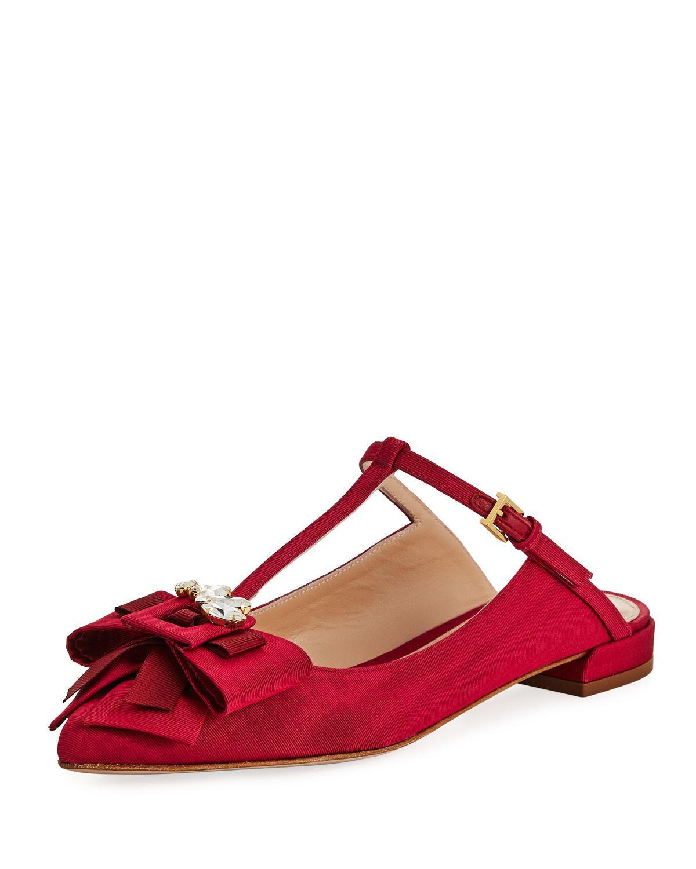 6aafc04bb8e Lyst - Stuart Weitzman Duckie Embellished Grosgrain Ballerina Mule ...
