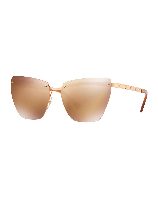 5f42568a3b Lyst - Versace Rimless Medusa-arm Metal Sunglasses