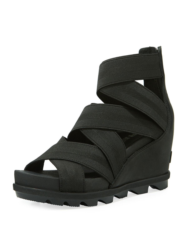 cb146c348 Lyst - Sorel Joanie Ii Stretch-strap Leather Wedge Sandals in Black