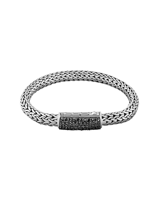 John Hardy Mens Classic Chain Rhodium-Plated Bracelet with Black Sapphire wChQjuYBL