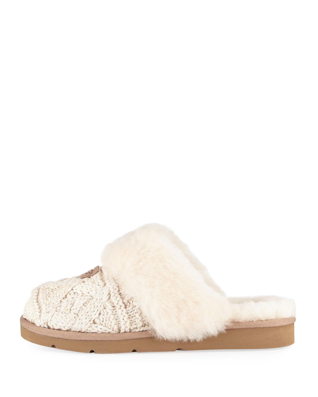 Ugg Fur Cozy Cable Knit Slide Slipper Lyst