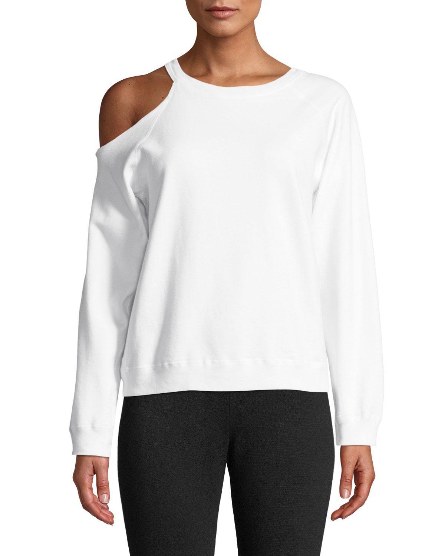 78823b4aee0af5 Lyst - Monrow Cutout-shoulder Crewneck Cotton Sweatshirt in Pink