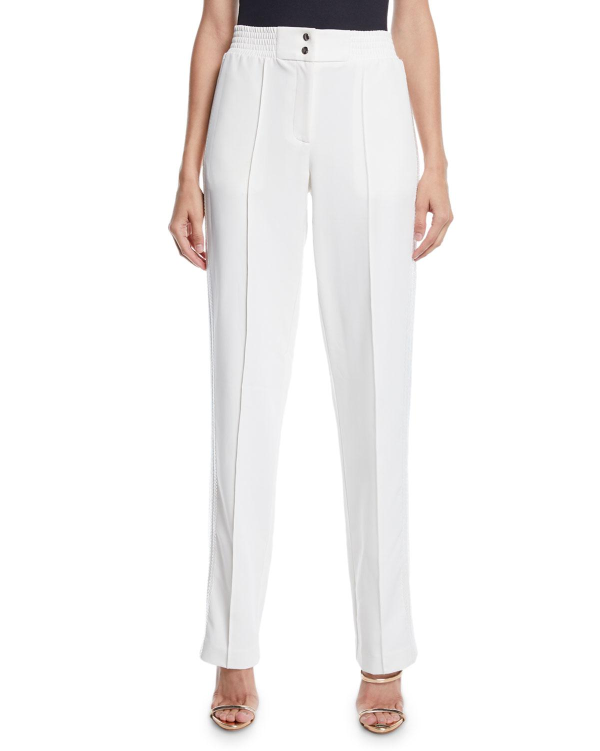 17f741c77fd4f Lyst - Sally Lapointe High-rise Straight-leg Track Pants W  Sequin ...