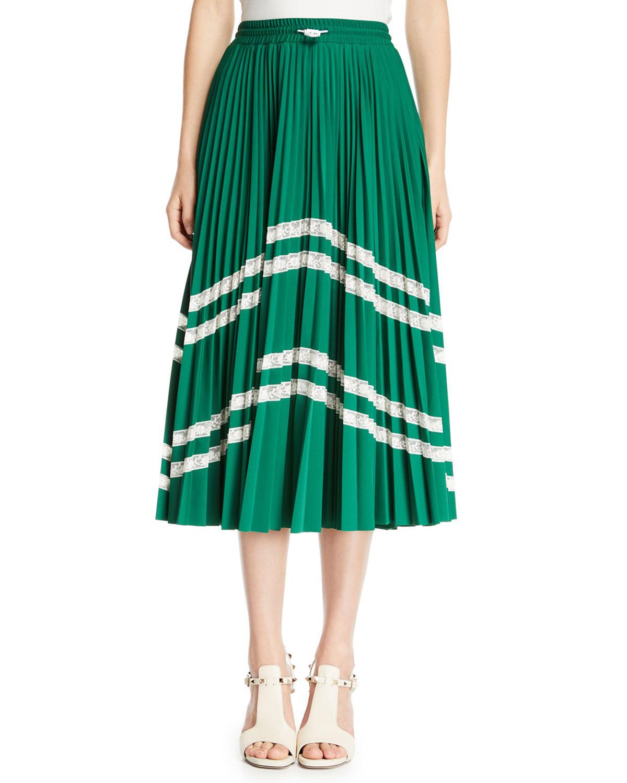 Lyst - Valentino Jersey Lycra® Plisse Midi Skirt With Chevron Lace ...
