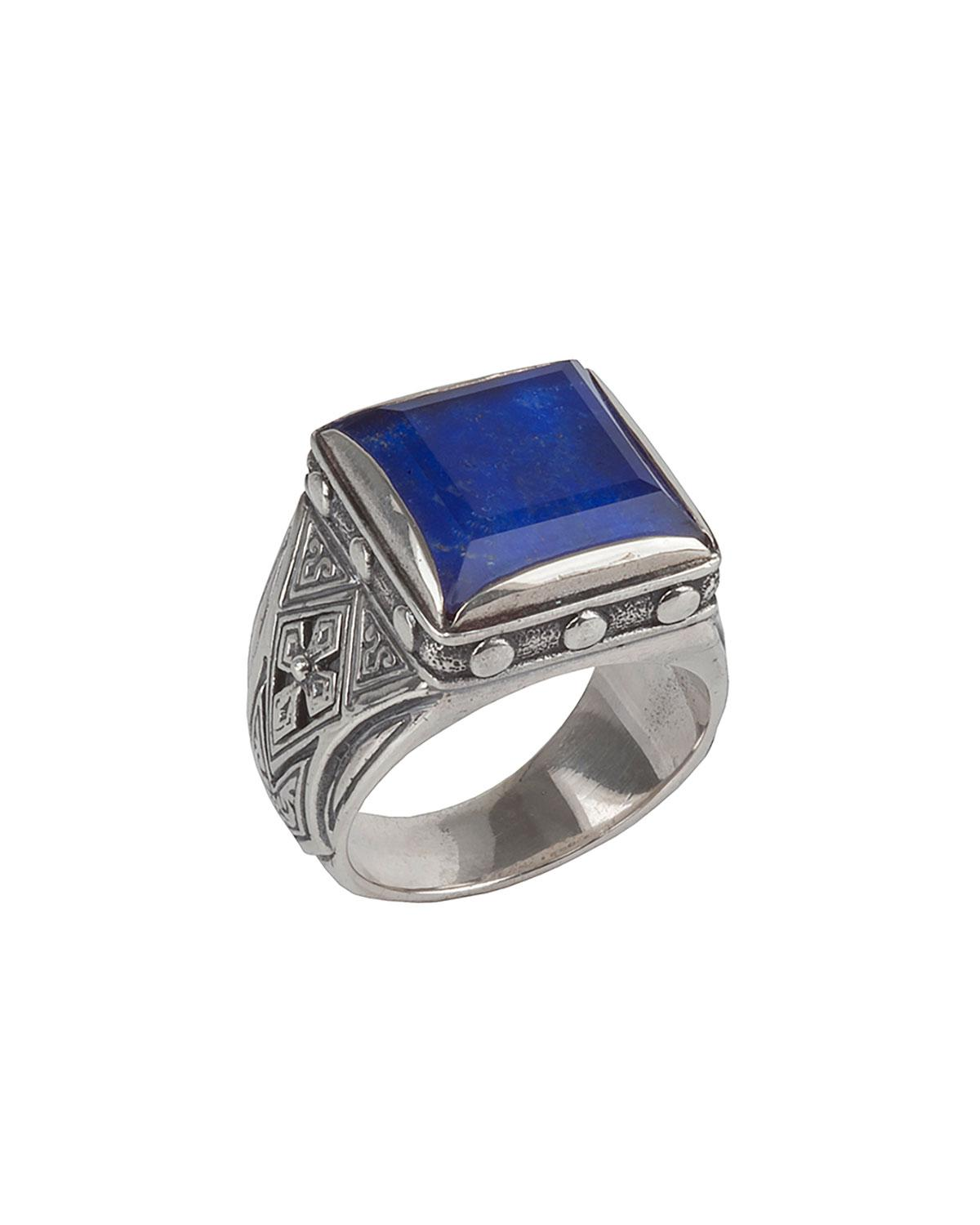 Konstantino Mens Sterling Silver & Turquoise Signet Ring Lcmmf