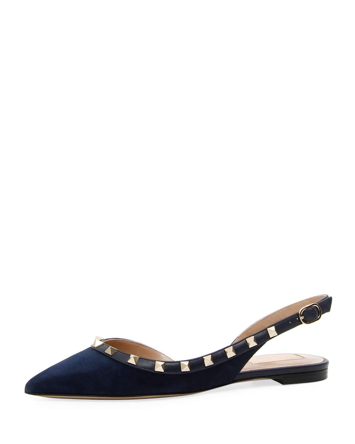 702015bb17be Valentino. Women s Suede Rockstud Slingback Ballet Flat