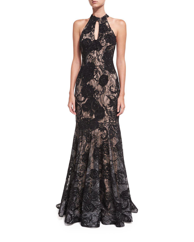 Lyst - Jovani Floral Embellished Sleeveless Halter Evening Gown in Black
