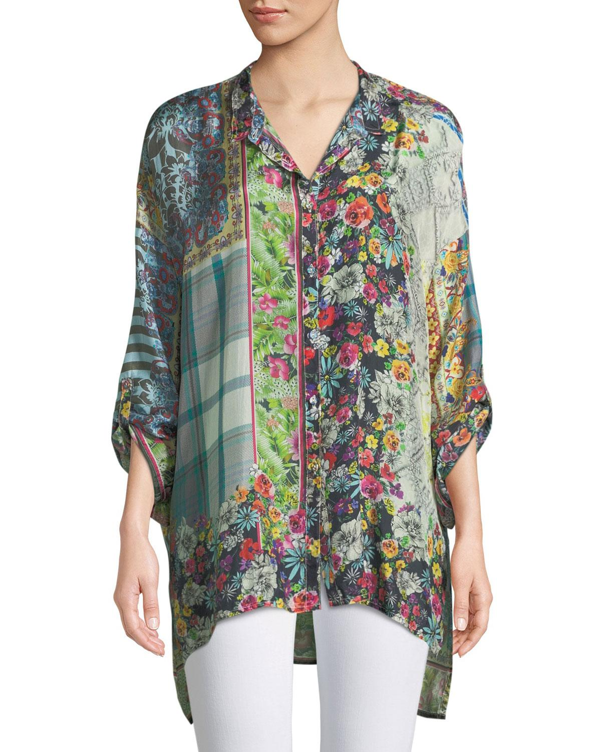 Johnny Was Invita Georgette Printed Button-front Blouse - Lyst