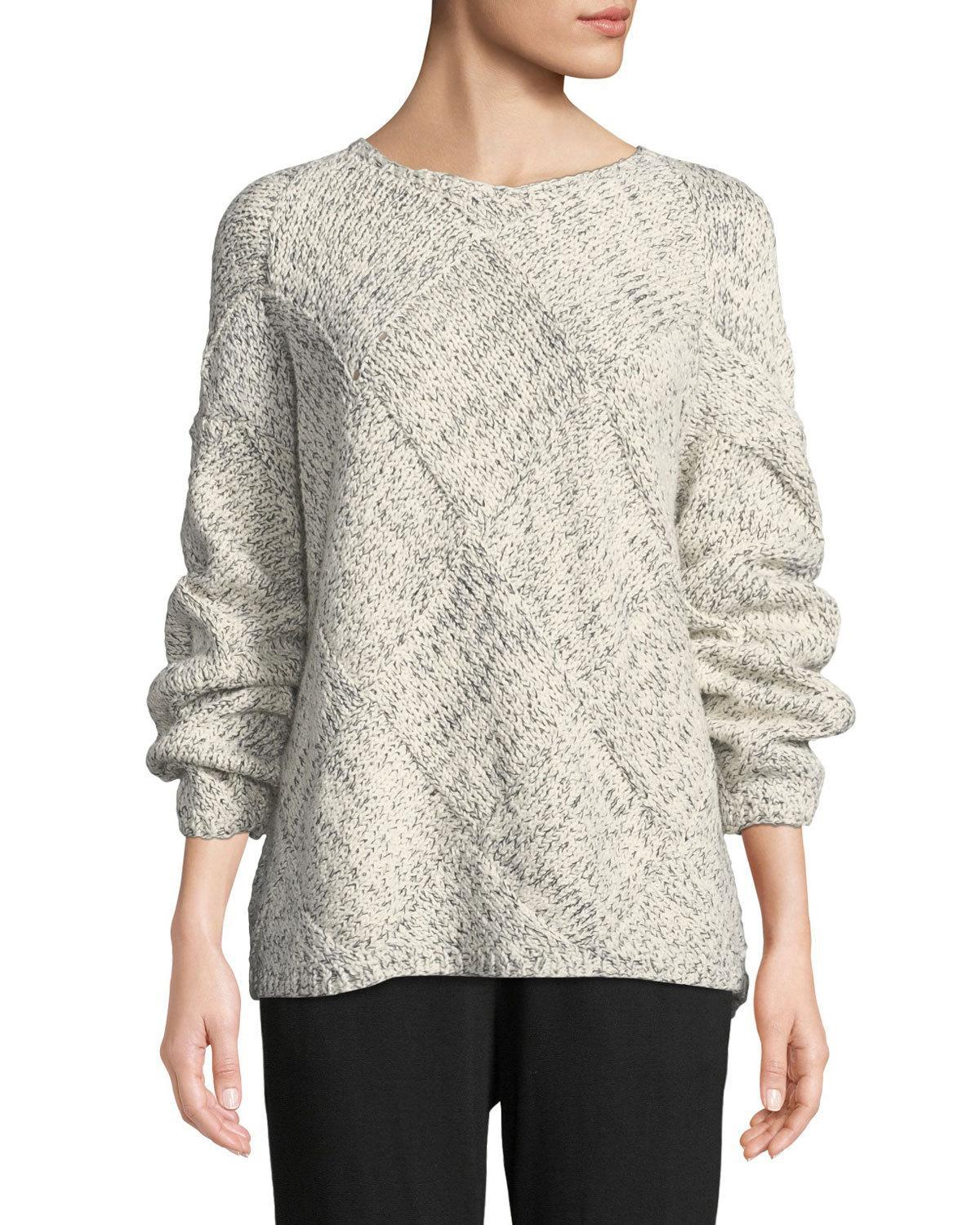 5febbcc72f32f0 Eileen Fisher. Women s Diamond Cable-knit Cotton Sweater