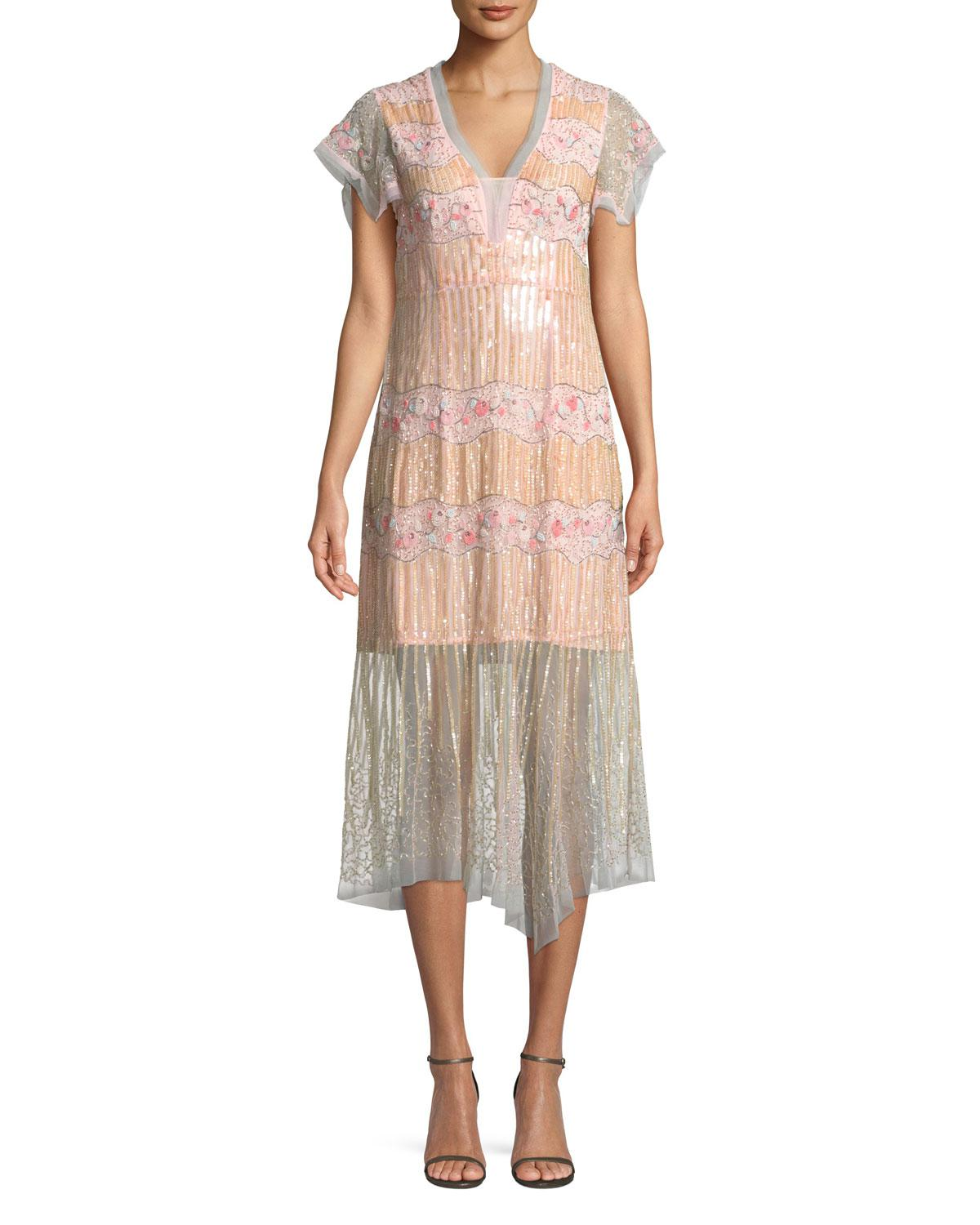 e779fd878c Lyst - Nanette Lepore Jeweled V-neck Pleated Dress in Pink