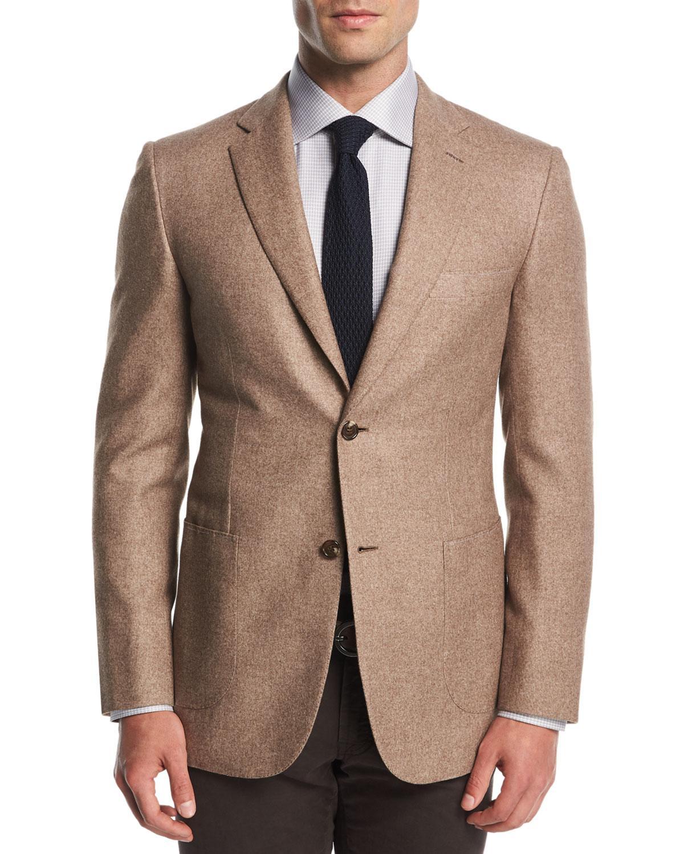 Brioni. Men's Natural Melange Silk-cashmere Two-button Blazer