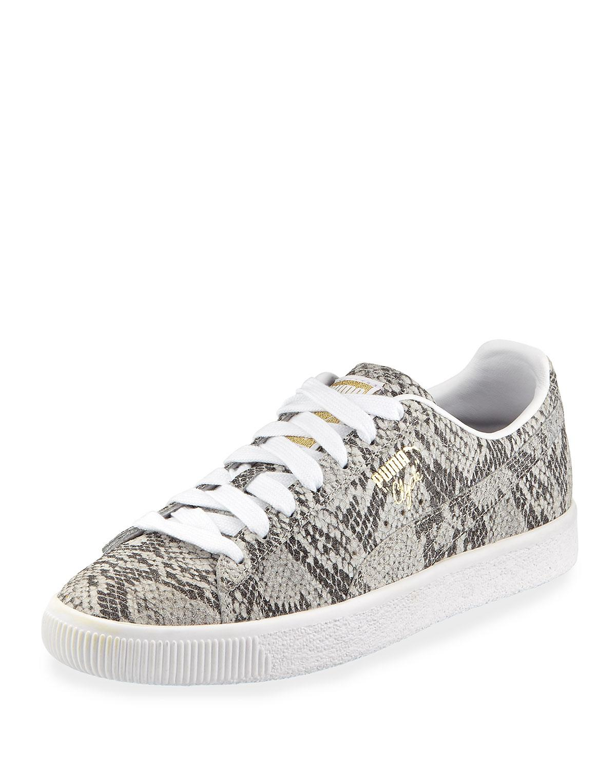 timeless design 9fd78 b2326 Women's White Clyde Snake-print Leather Lace-up Sneakers