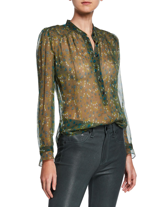 9f73ba57e20a2d Rag & Bone Susan Floral Chiffon Long-sleeve Blouse in Green - Save ...