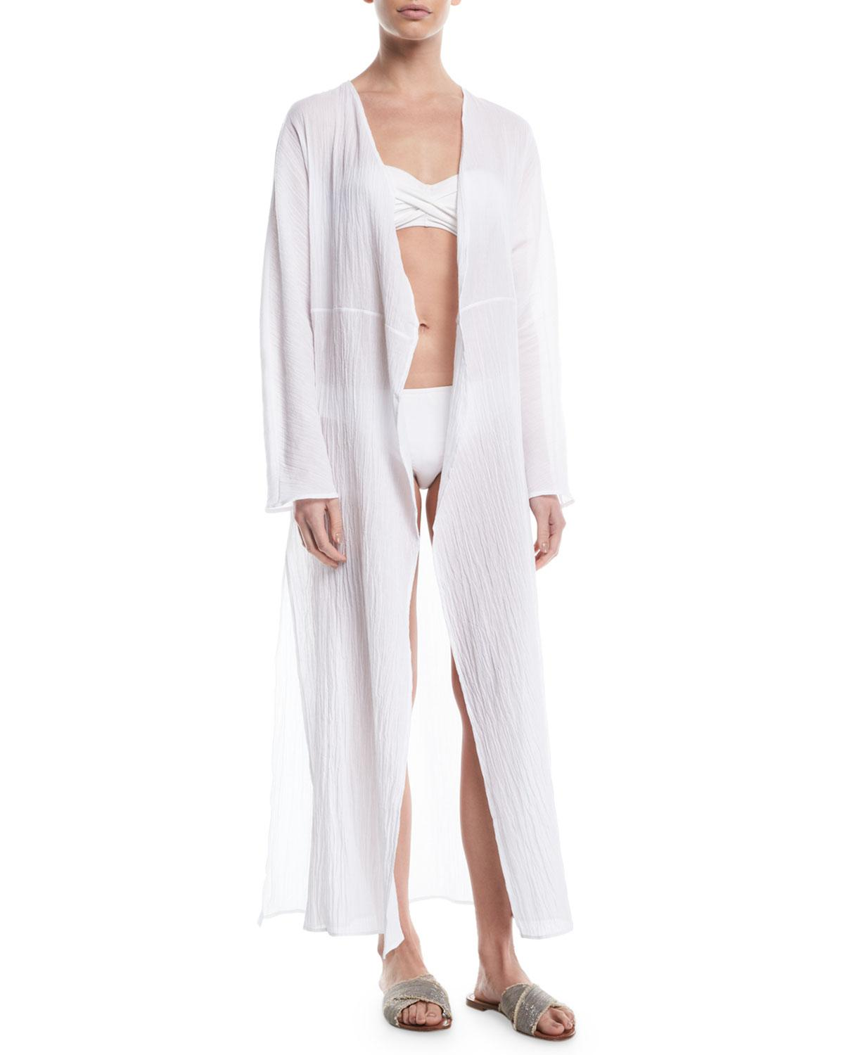272dcab6e6 Lyst - Pondicherie Mata Open-front Long-sleeve Swim Coverup in White