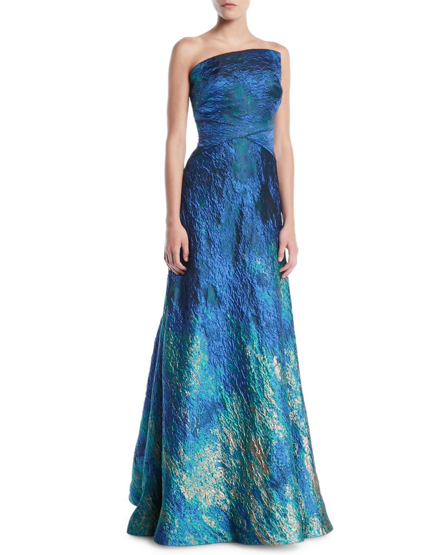 Lyst - Rene Ruiz Strapless Textured Ball Gown in Blue