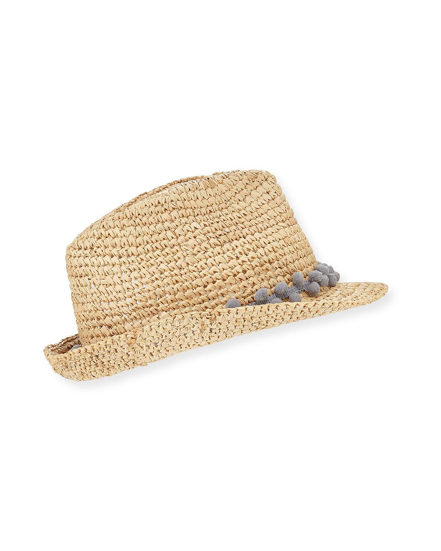 0d988c48ac2 Lyst - Tracy Watts Hitch Crochet Raffia Fedora Hat W  Pompom Hat ...