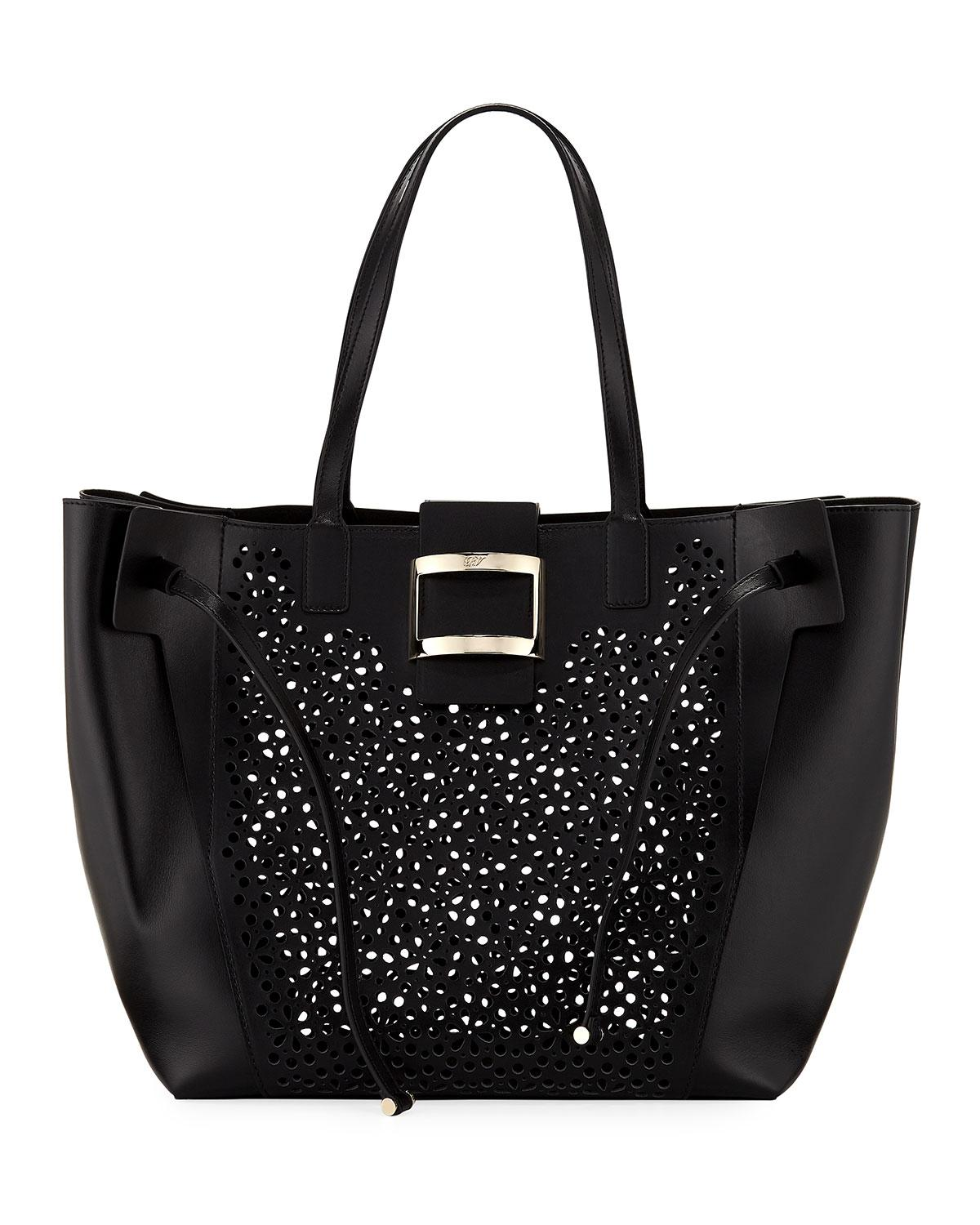 Lyst - Roger Vivier Viv Large Perforated Tote Bag in Black 8b727677197f8