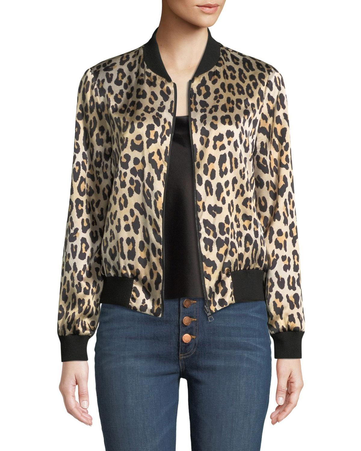 305287f82b76 Alice + Olivia Lonnie Reversible Leopard Bomber Jacket in Black - Lyst