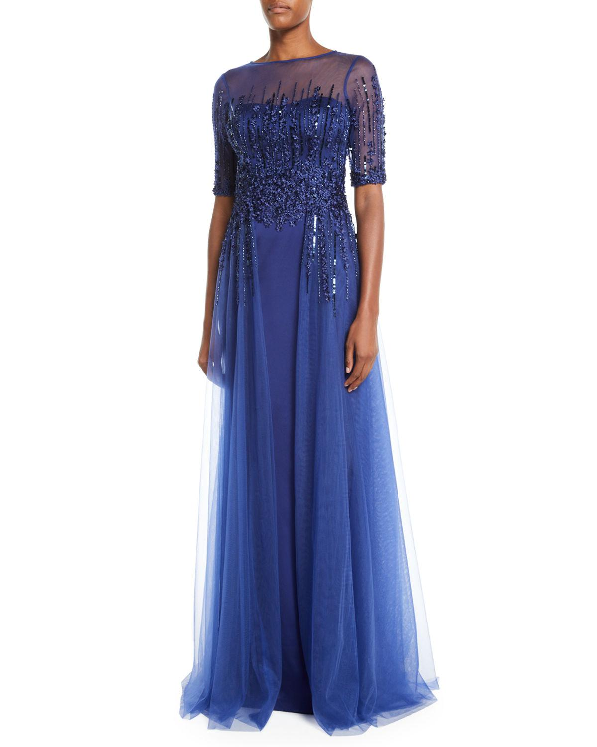 6ae4d554e99c Lyst - Teri Jon Embellished Satin Illusion Trumpet Gown in Blue