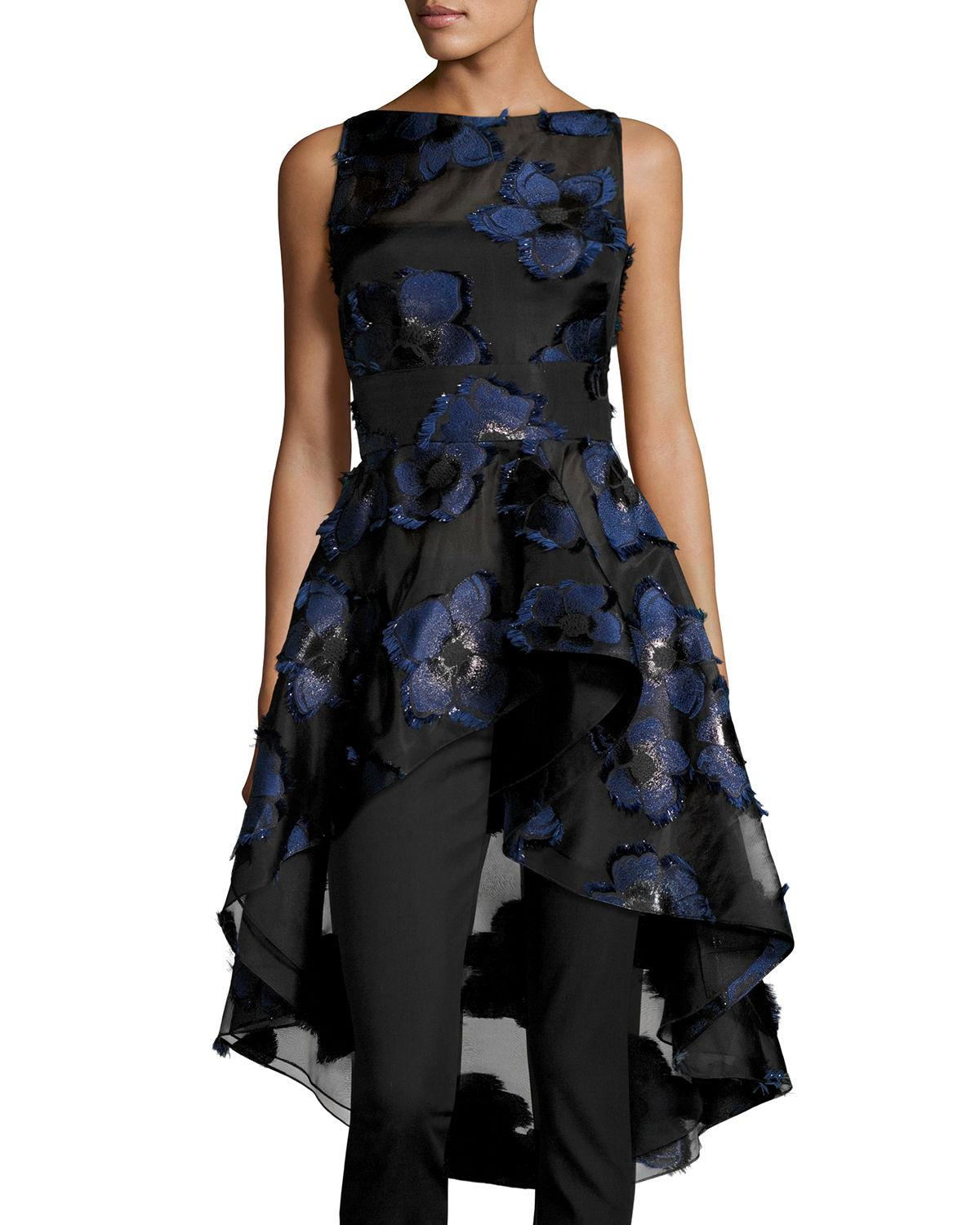 Lyst Lela Rose Floral Fil Coup 233 High Low Peplum Top In Blue