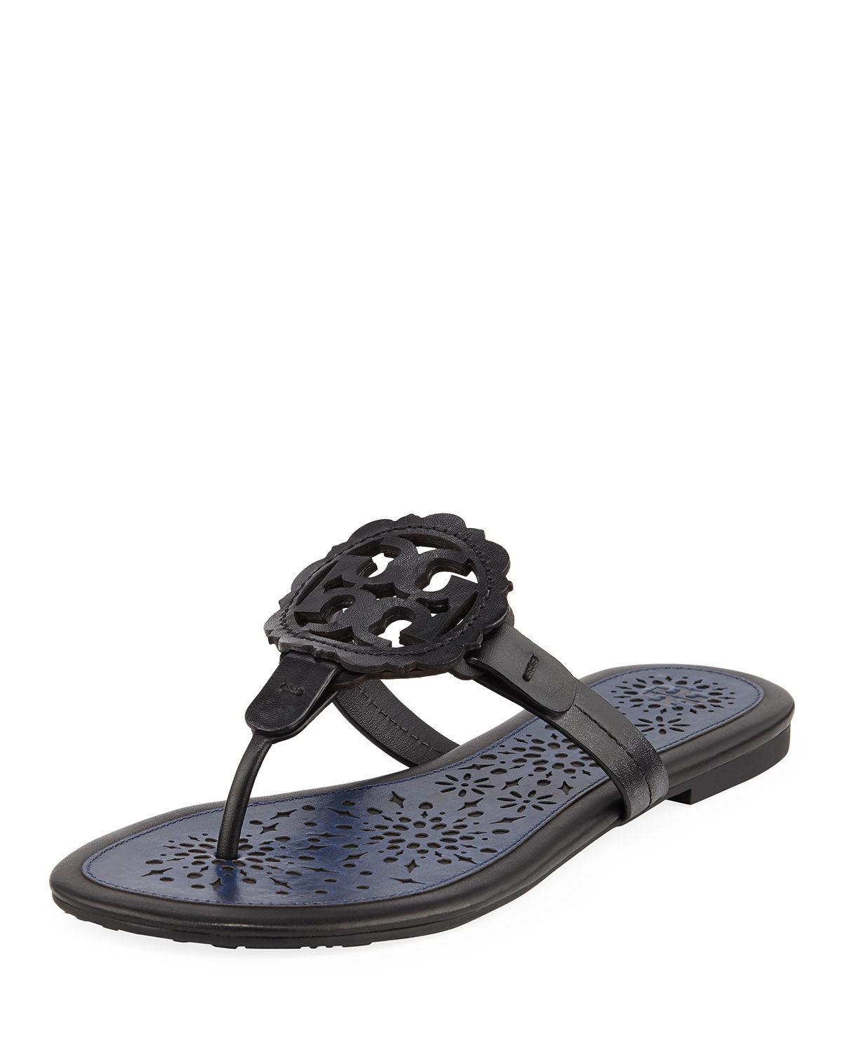 a59cc0768ea9 Lyst - Tory Burch Women s Miller Scallop Leather Thong Sandals in Blue