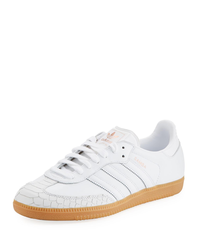 Samba Rose Textured-leather Platform Sneakers - White adidas Originals zazfkuV