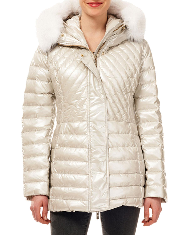 96c5d205643 Gorski - White Quilted Puffer Apres-ski Jacket W/ Detachable Fox-fur Trim